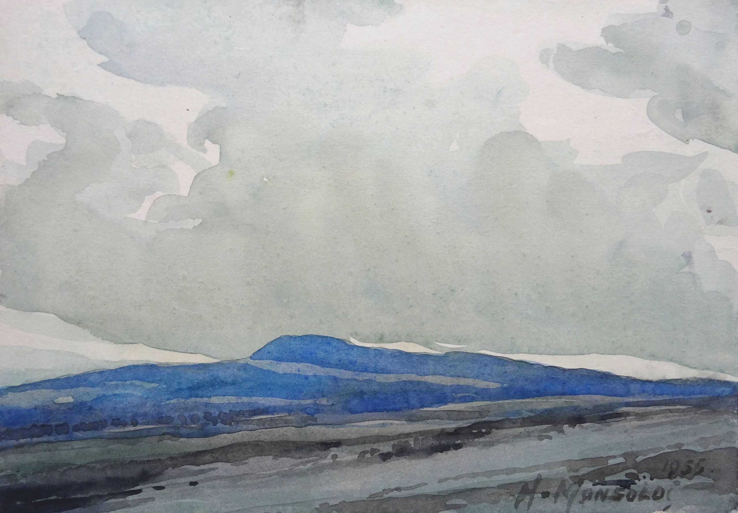Mountain Landscape Mountain Landscape By Herberts Mangolds Watercolor On Paper 14 5x20 5 Cm Painting Mountain Landscape Landscape
