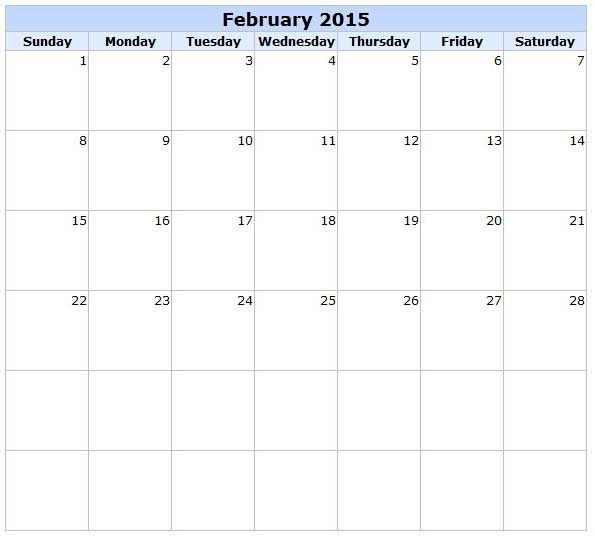 Download Calendar 2015 February Printable Templates Designs Blank