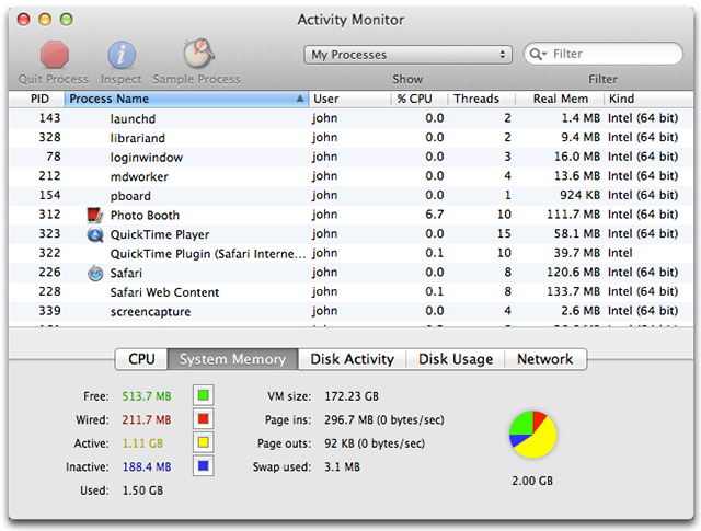 Using Activity Monitor to read System Memory and determine how much