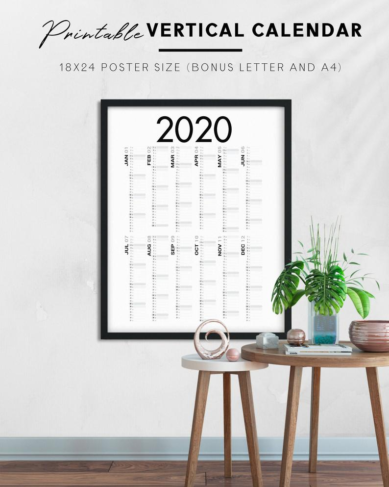 Printable 2020 Vertical Black And White One Page Calendar Large Poster Size Big Wall Calendar Yearly View Planner Insert In 2020 Diy Prints Wall Calendar Poster Size