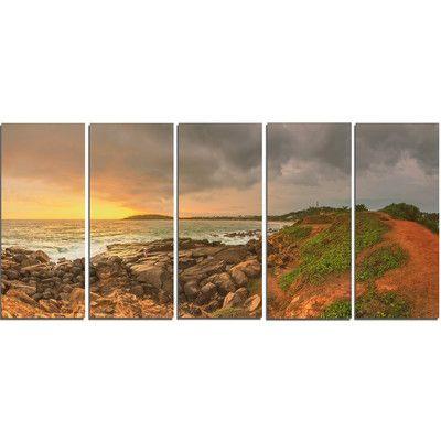 DesignArt Rocky Romantic Sri Lanka Beach 5 Piece Wall Art on Wrapped Canvas Set