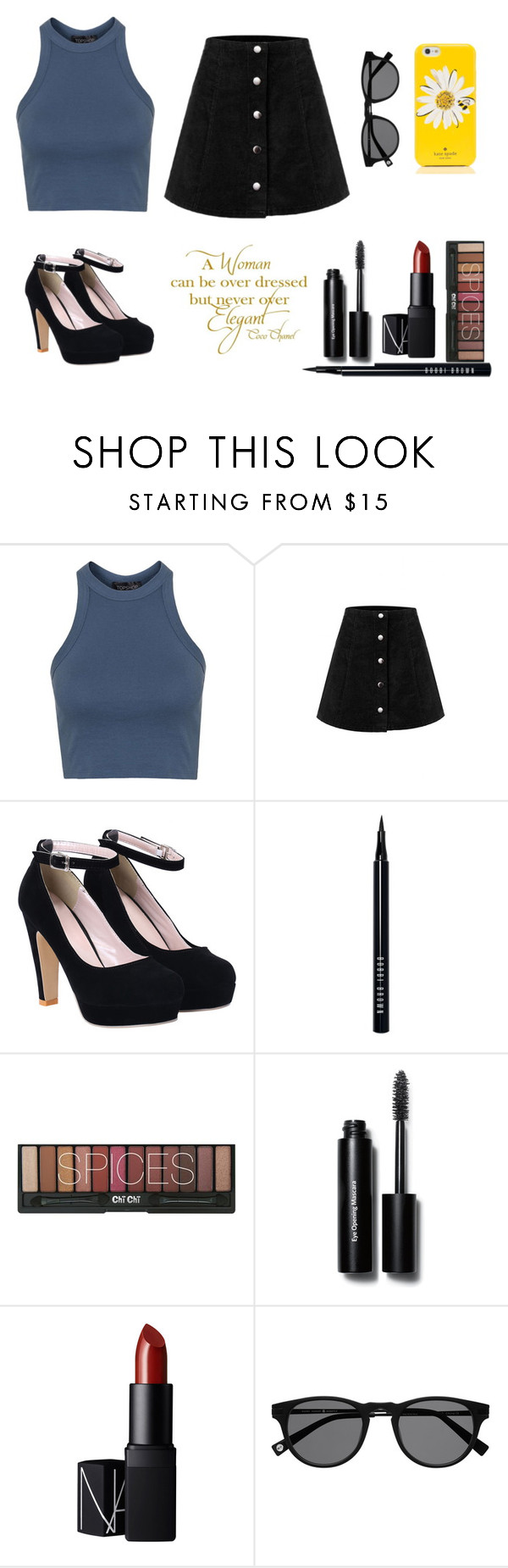 """""""Untitled #166"""" by laurelmae ❤ liked on Polyvore featuring Topshop, Bobbi Brown Cosmetics, NARS Cosmetics, Kate Spade and Chanel"""