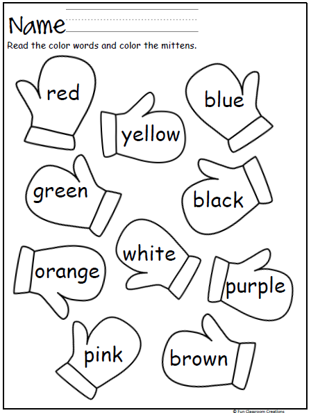 mitten color words the mitten kindergarten preschool worksheets preschool colors. Black Bedroom Furniture Sets. Home Design Ideas