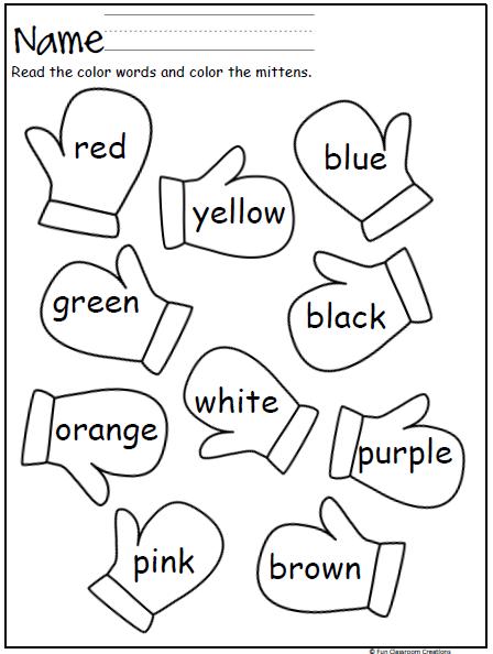 Mitten Color Words Preschool colors, Kindergarten, Preschool