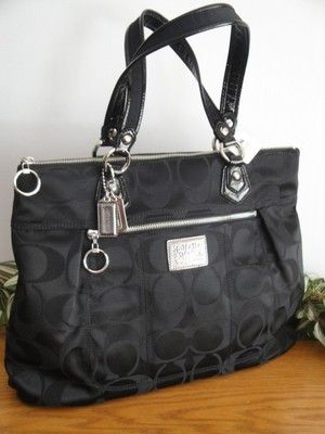 new coach poppy signature sateen glam tote purse bag 18351 black rh pinterest com
