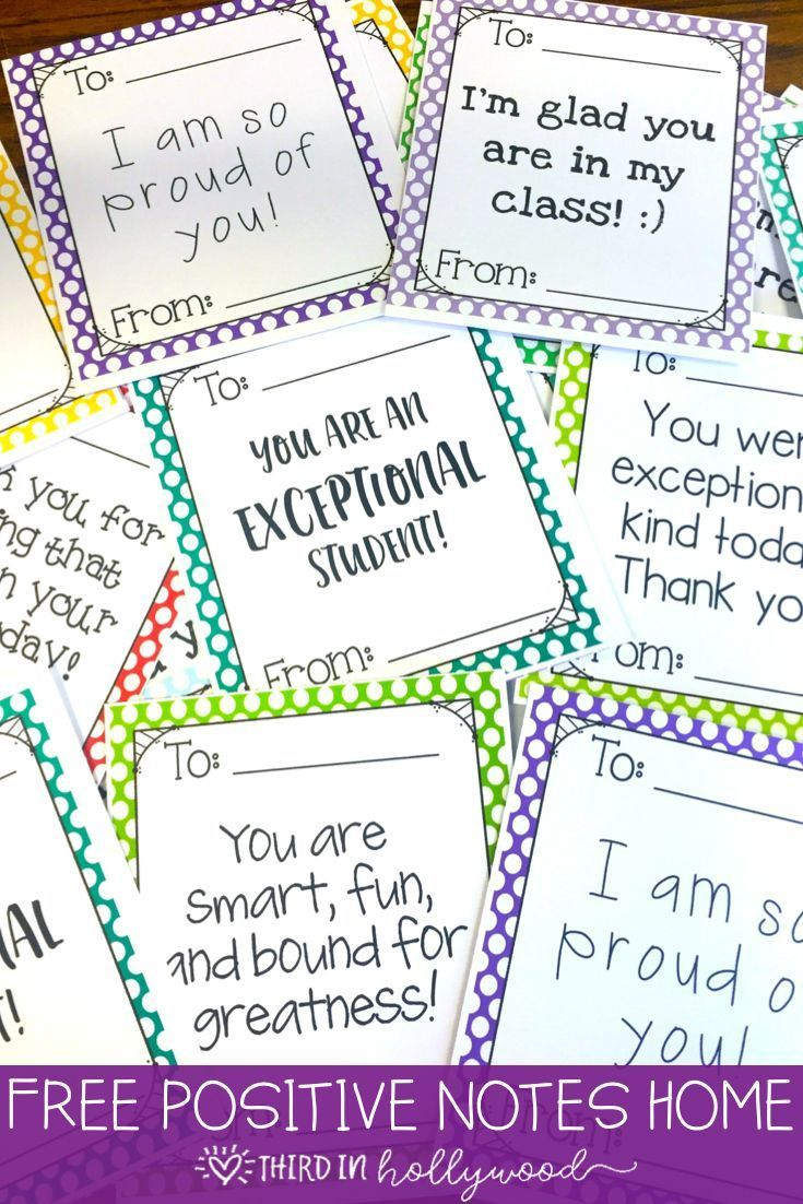 FREE Positive Notes Home | School Community | Pinterest | Classroom ...