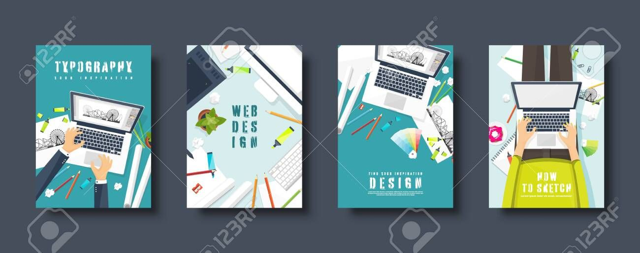 Graphic And Web Design Flat Style Covers Set Designer Workplace With Tools User Interface Design Business Vector Illustration Vector Illustration Web Design