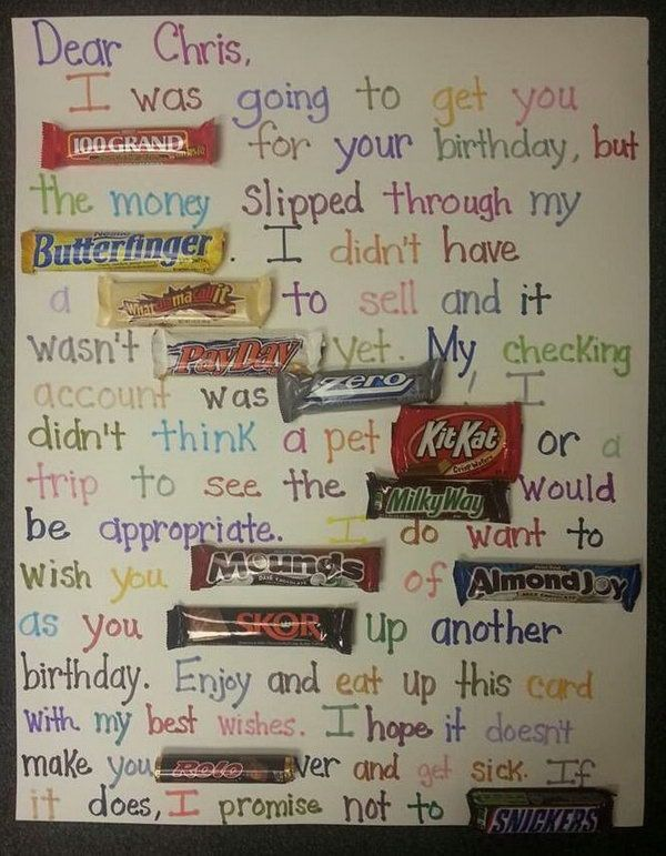 Candy Bar Poster Birthday Card