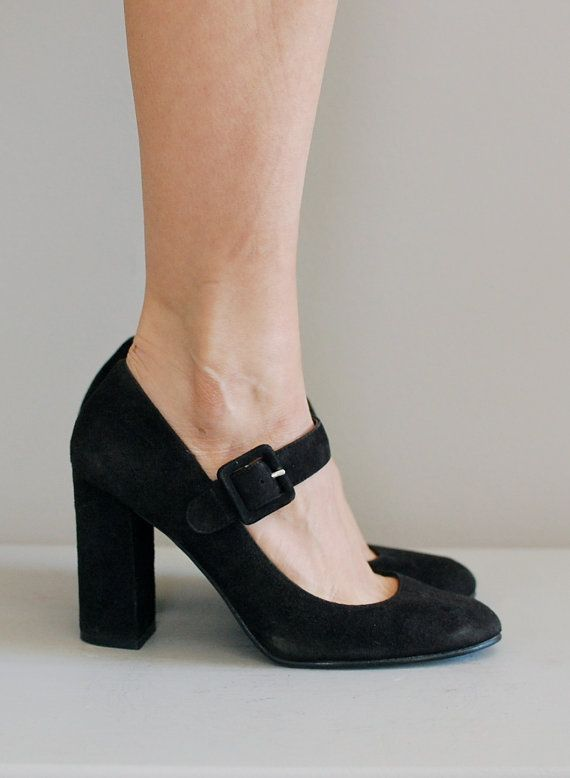 00125ca8ab3a vintage 80s 90s black suede mary jane heels with wide strap