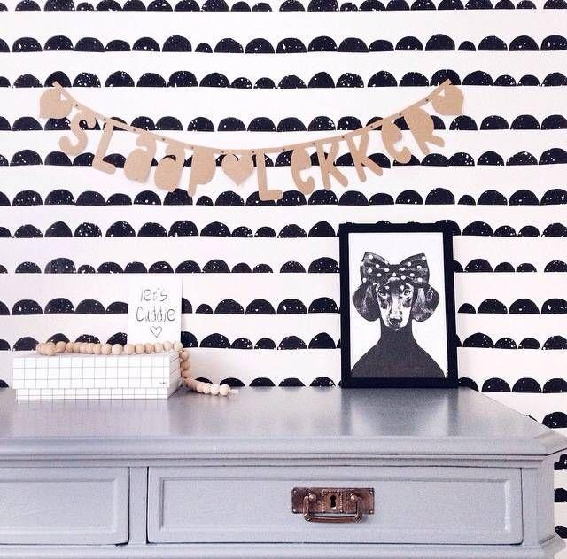 Ferm Living Behang Zwart Wit Papier  Mtrxcm Wallpaper Half Moon