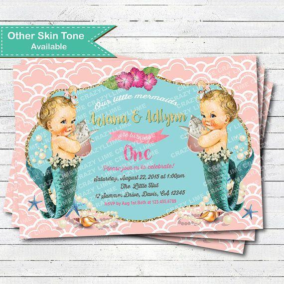 Mermaid twins 1st birthday invitation. Vintage by CrazyLime