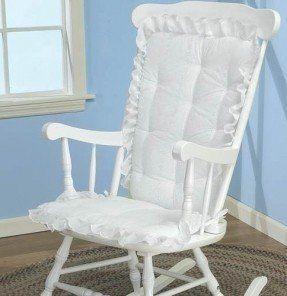 Baby Doll Bedding Carnation Eyelet Rocking Chair Cushion Pad Set White