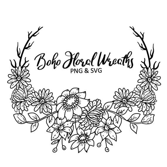 Photo of BOHO FLORAL WREATHS, hand-drawn wreaths, doodle clipart, floral wreaths, rustic, drawn wreaths, png, svg, vector wreaths, wedding