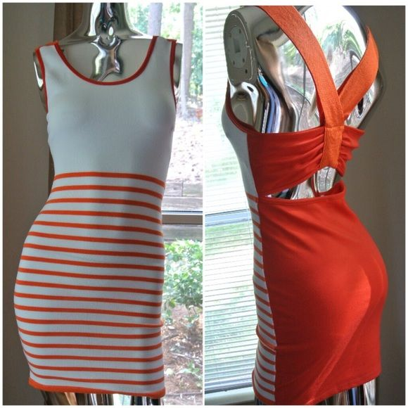 78d5ab48faad Orange   White Dress NWOT70% Acrylic