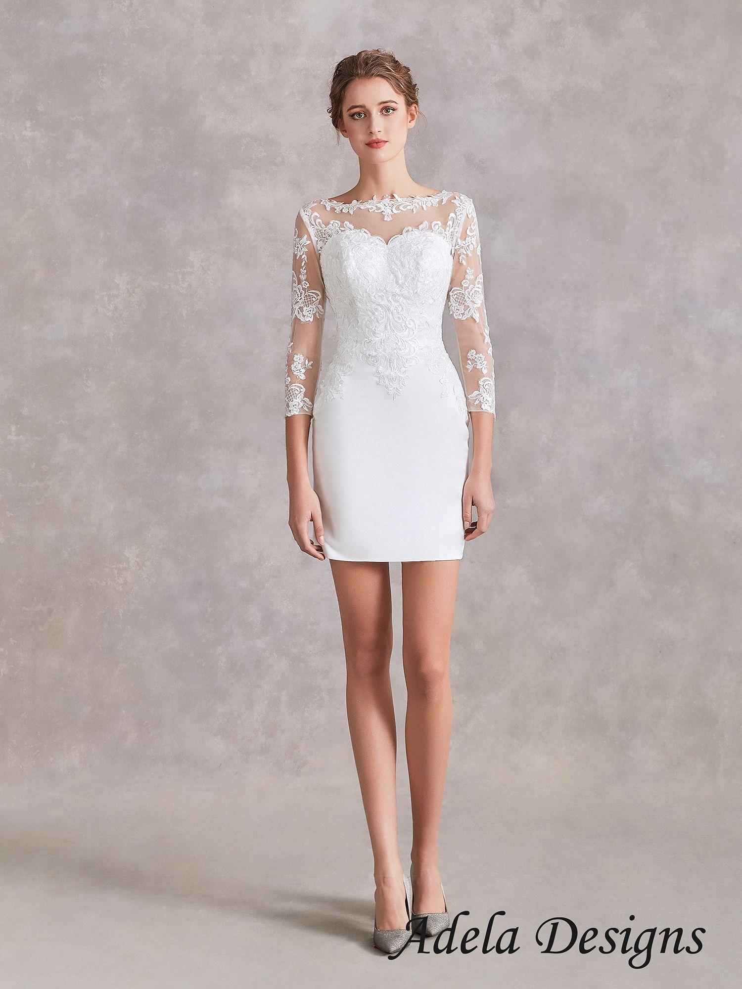 Fited Short Wedding Dress Short Wedding Dress After Wedding Dress Boho Wedding Dress Lace [ 2000 x 1500 Pixel ]