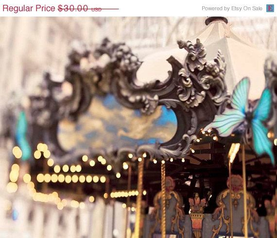 20% off SALE Bryant Park Carrousel New York Print NYC by Raceytay