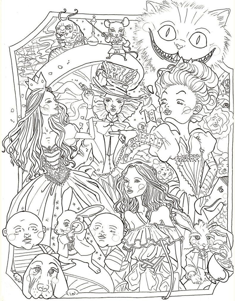 Alice in wonderland by sidoans animal coloring pages coloring sheets adult coloring pages