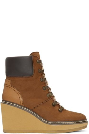 0f154fe6f7e9 See by Chloé - Brown Nubuck Eileen Wedge Boots