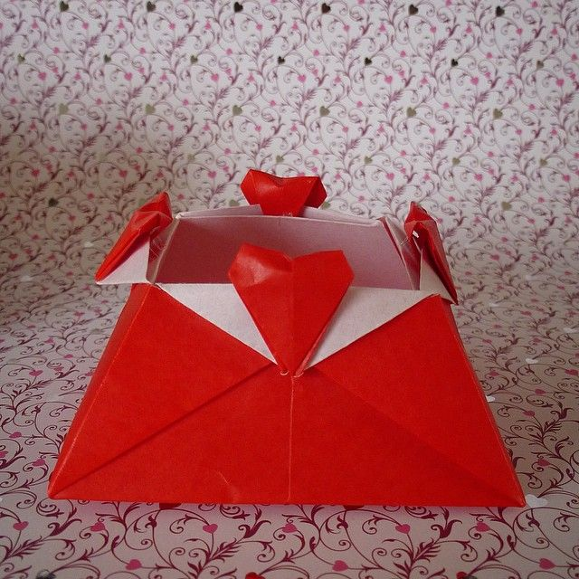 May 8th 2015 Origami Heart Love Box I Made Red Diy Craft Handmade 128 Paper Folding
