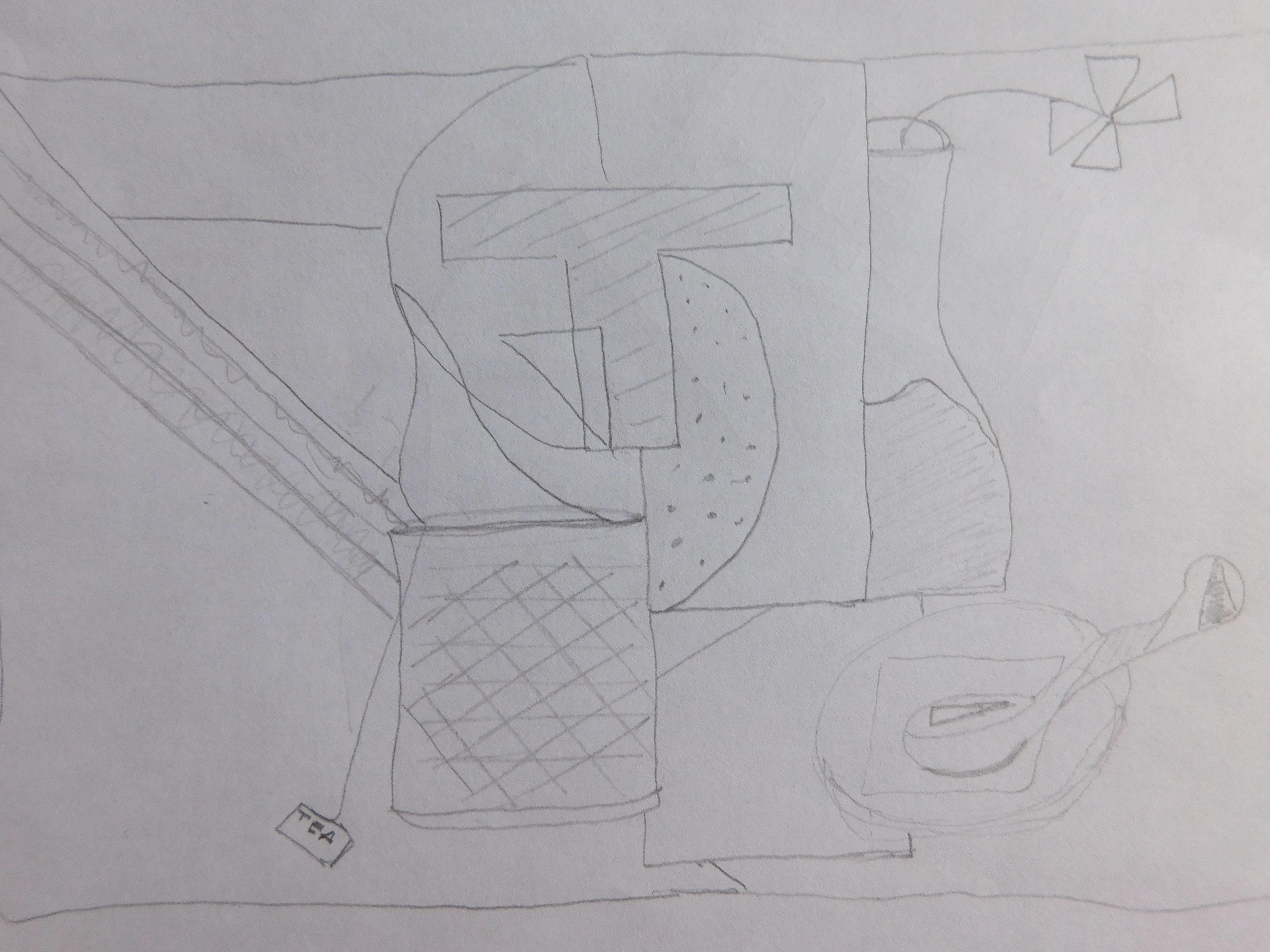 Este segundo boceto 2.  Fue realizado para intentar entrar en materia y  coger el norte de la tarea, pero andaba un poco perdida, como muestra la imagen.