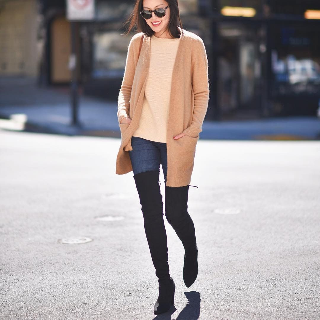 A Cream Sweater, a Light Brown Cardigan, Skinny Jeans, and Black ...