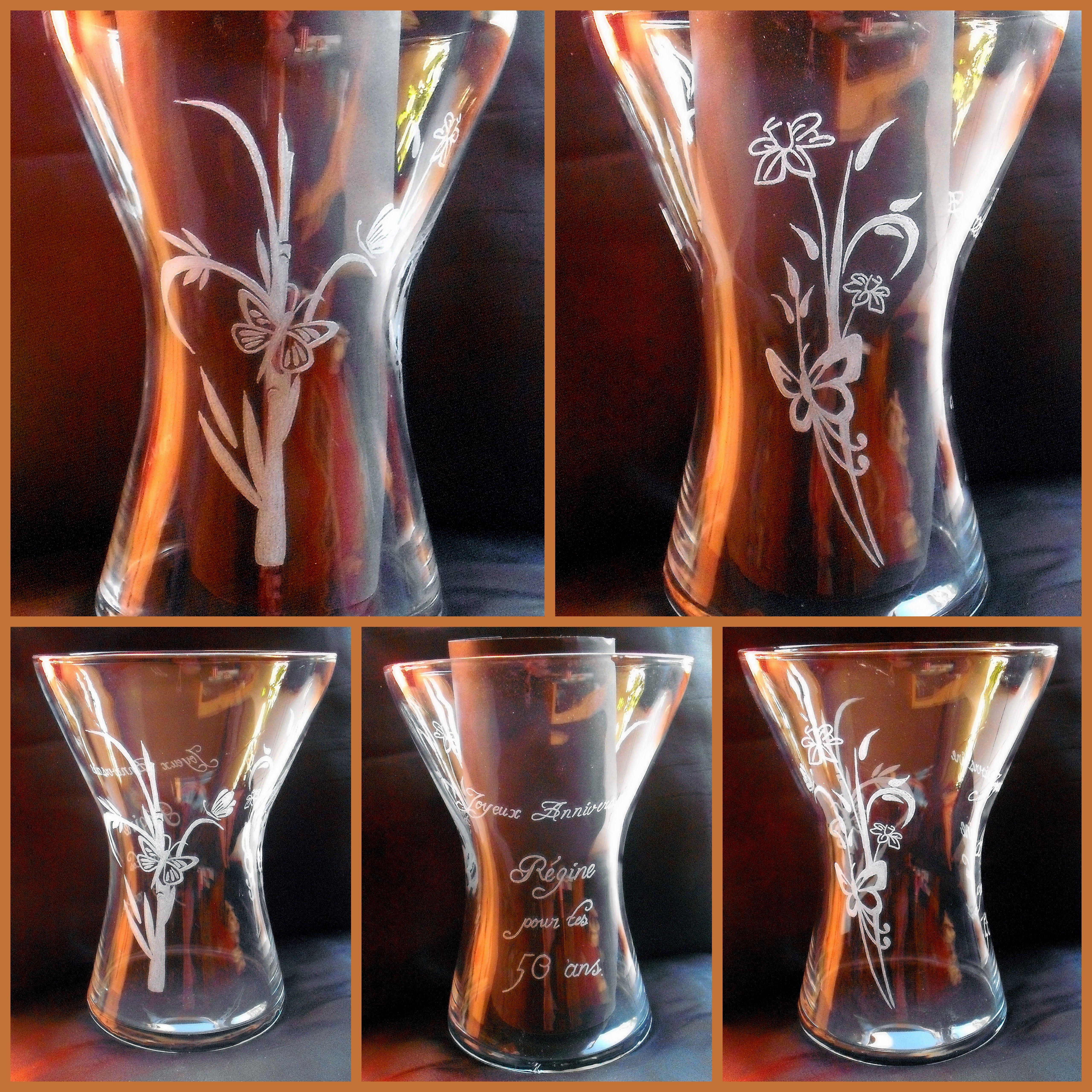 vase avec gravures bambou papillon fleur vase grav pour un anniversaire gravure sur. Black Bedroom Furniture Sets. Home Design Ideas