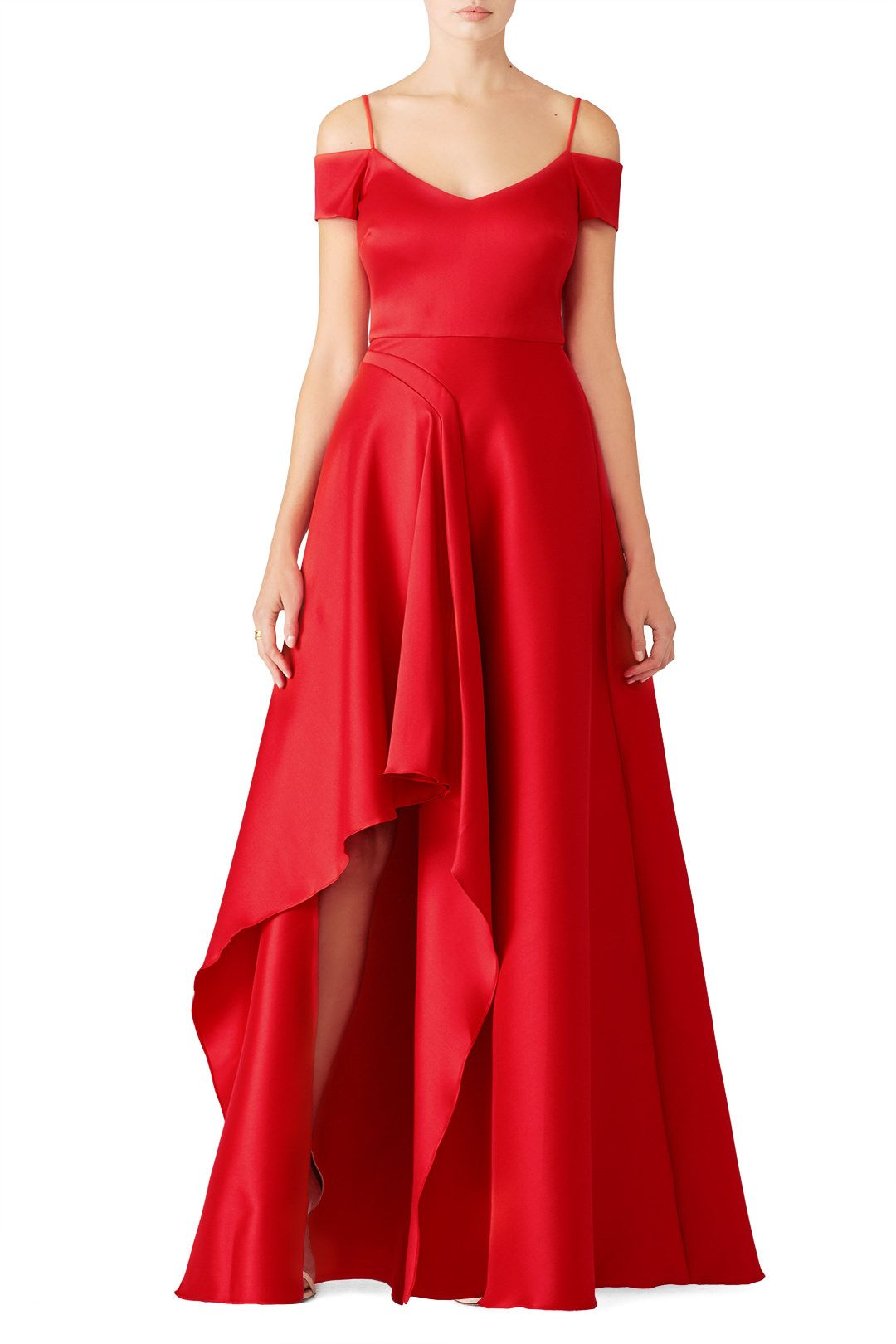 0c1a31b00bc6b Rent Red Asymmetrical Gown by Badgley Mischka for $145 only at Rent the  Runway.
