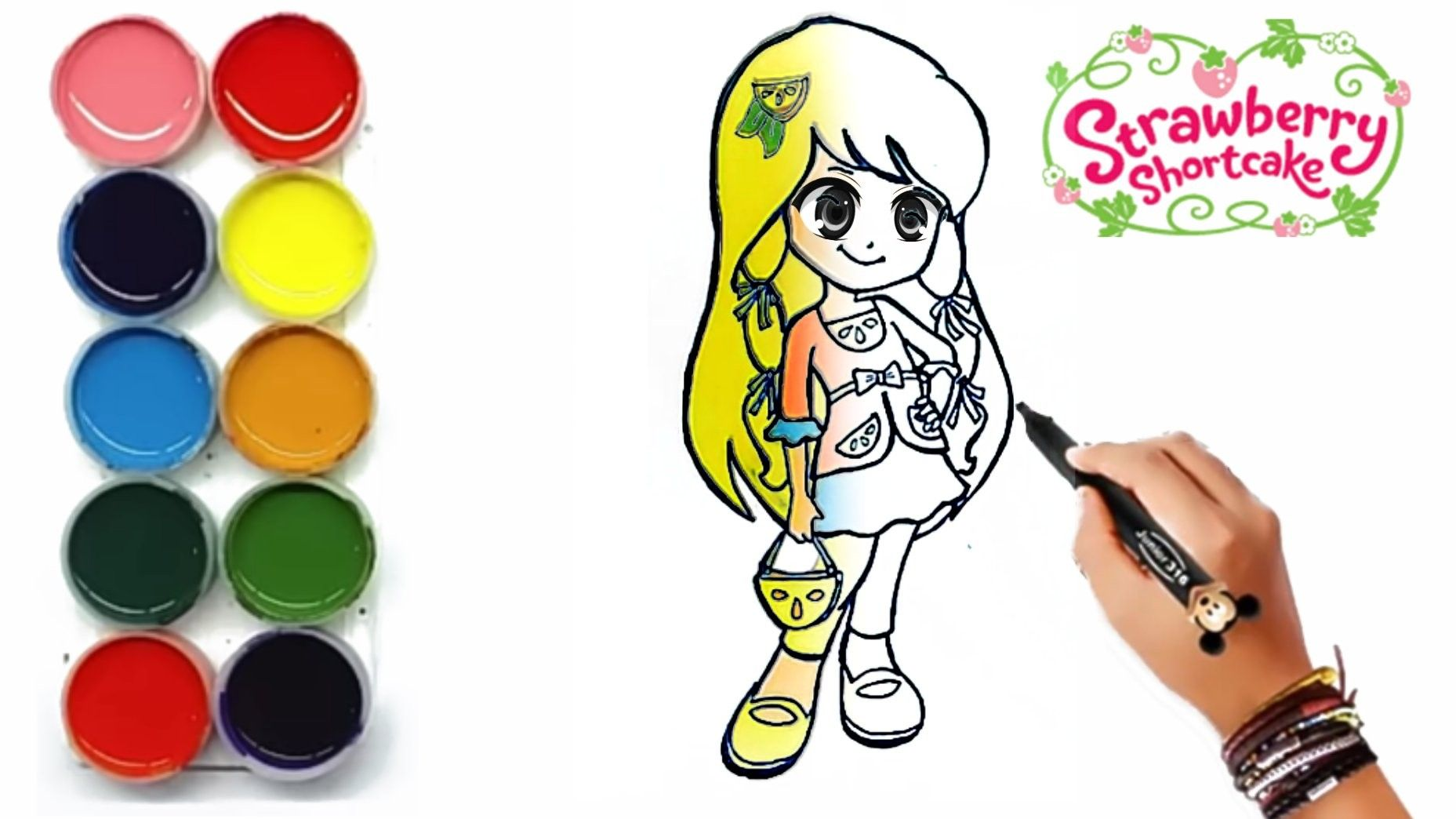 Menggambar Dan Mewarnai Putri Strawberry Shortcake Gambar Warna