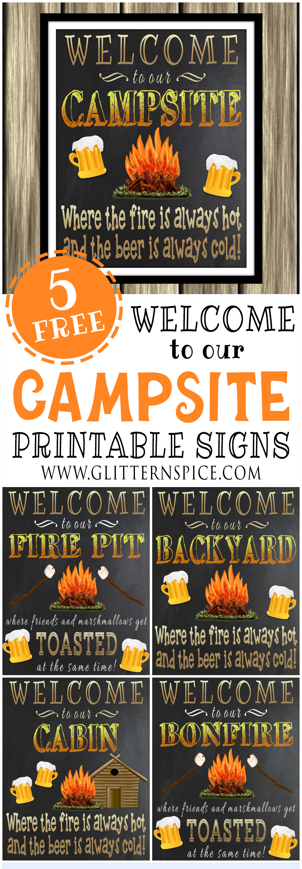 graphic relating to Free Printable Camping Signs named Free of charge Printable Welcome Towards Our Campsite Signal As well as 4 Excess