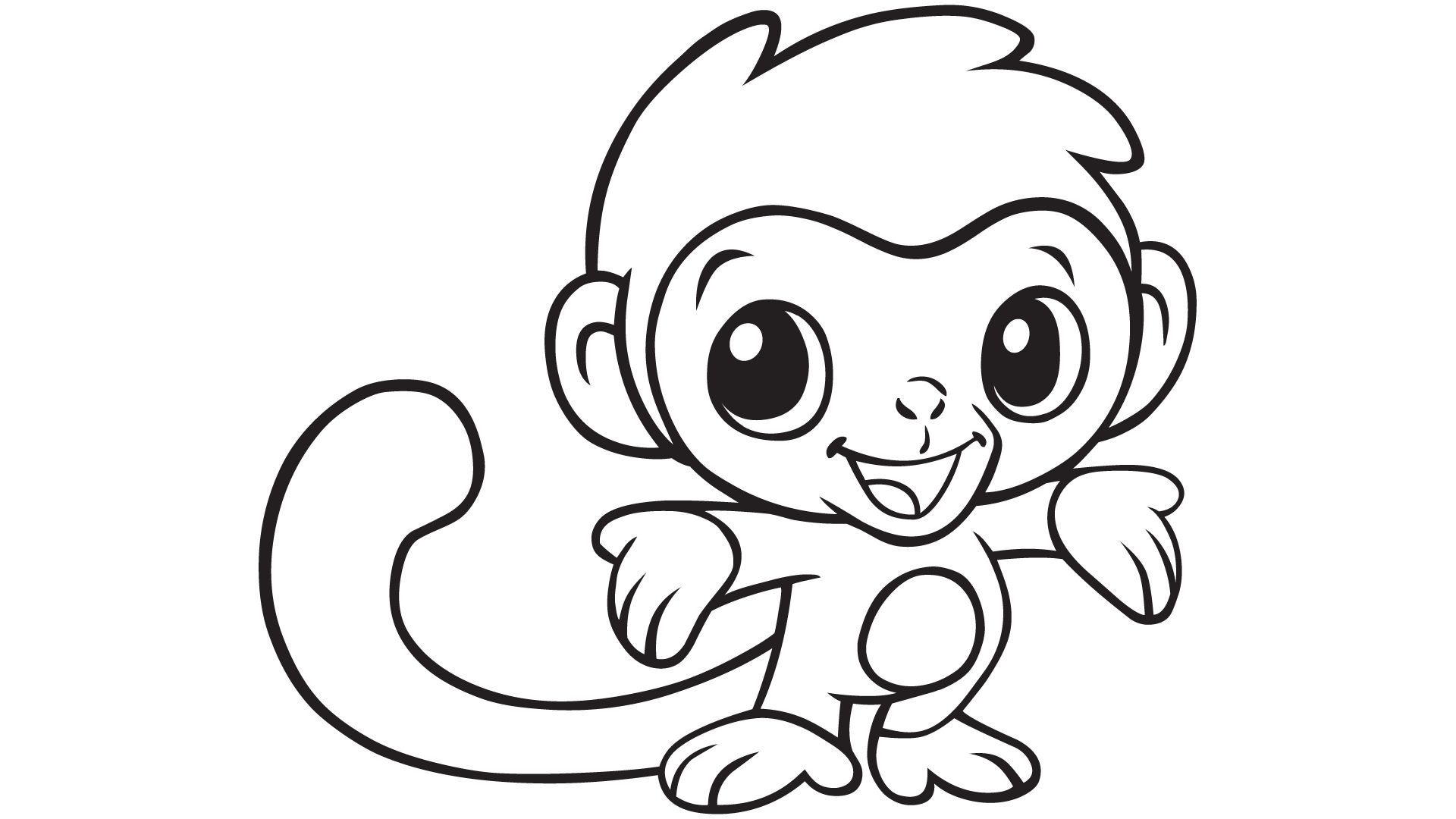 baby monkey coloring pages # 1