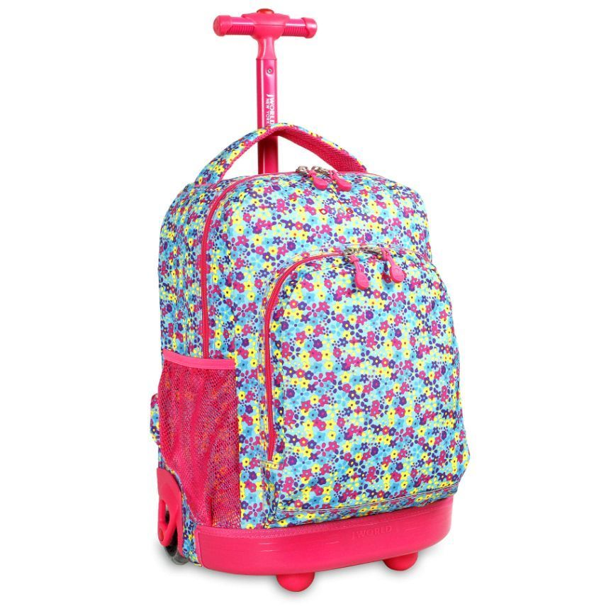 Floret Rolling Backpack Wheeled Bookbag Carry Campus College ...