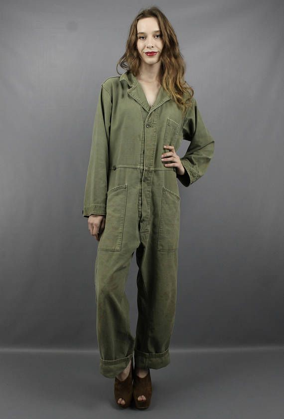 6722dc0ce743f Vintage 90s Grunge Army Green Camouflage CAMO Oversized Military Jumpsuit  Overalls, fits up to size XL