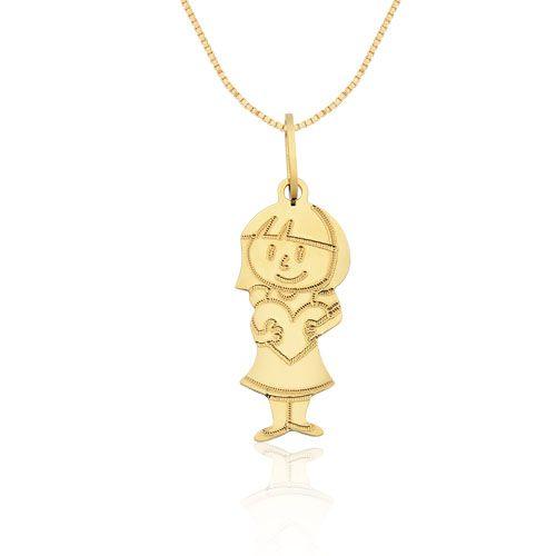 9d946183e8536 Pingente Menina com Coração Ouro Amarelo Mama