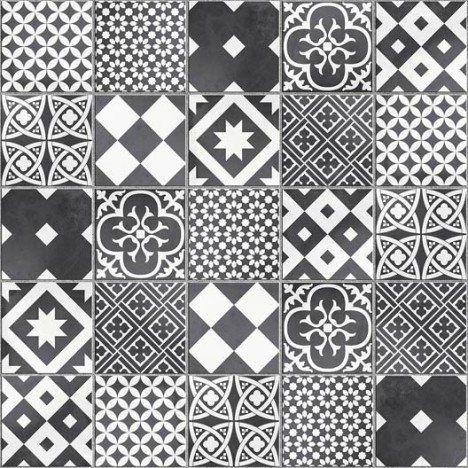 Mosaïque sol et mur Gatsby décor noir et blanc Salle de bains