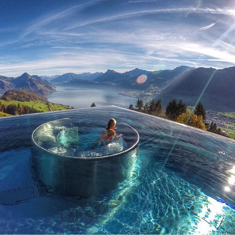 amazing infinity pool, switzerland. if you're not following