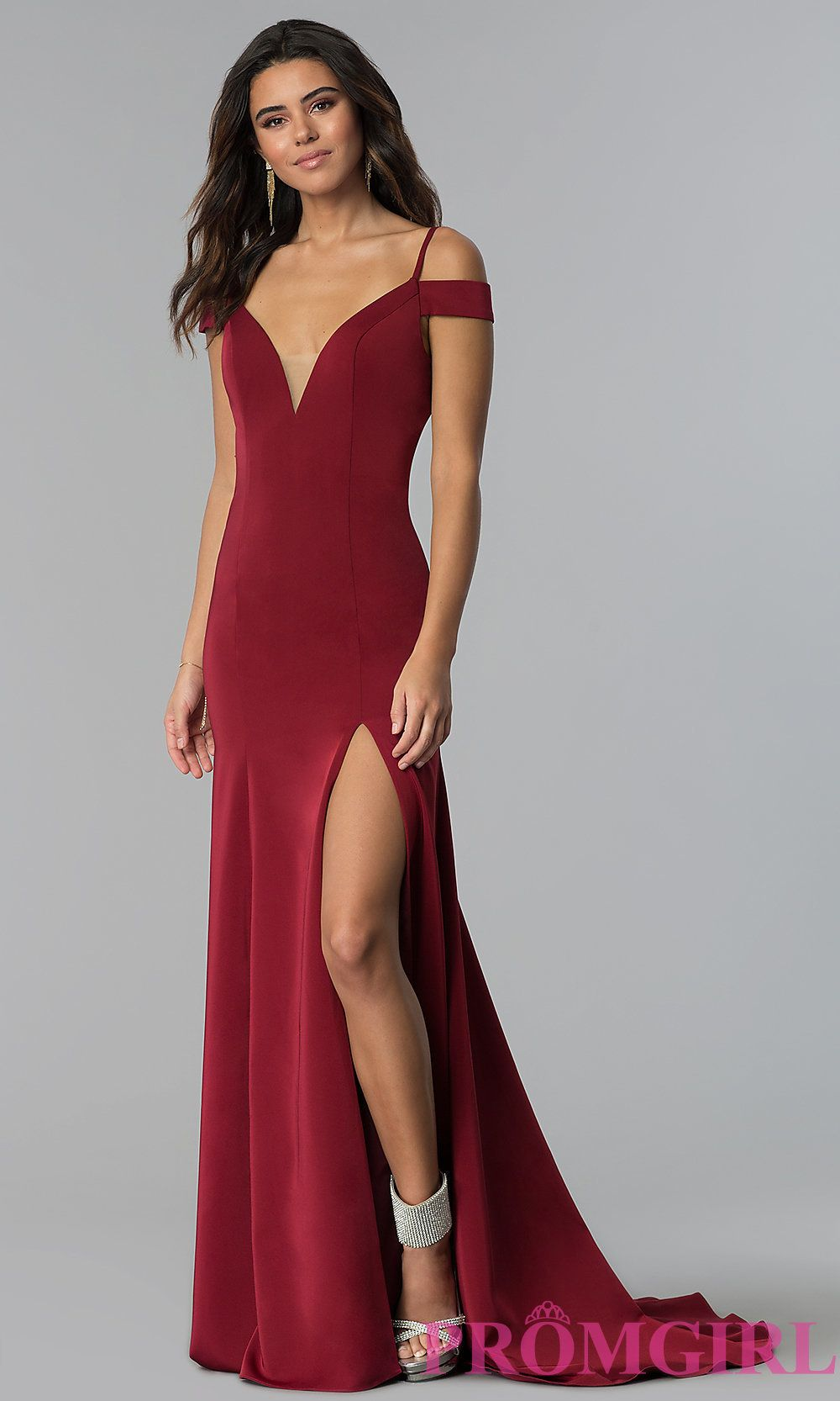 c3296e933 Long Off-the-Shoulder Prom Dress with Straps | Dress | Prom dresses ...
