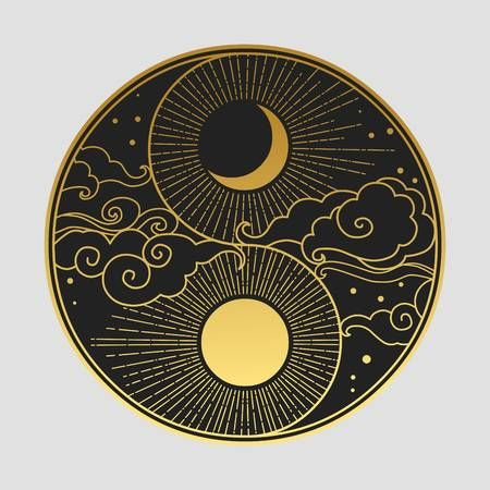 Decorative graphic design element in oriental style. Sun, Moon, clouds, stars. Vector hand drawing illustration