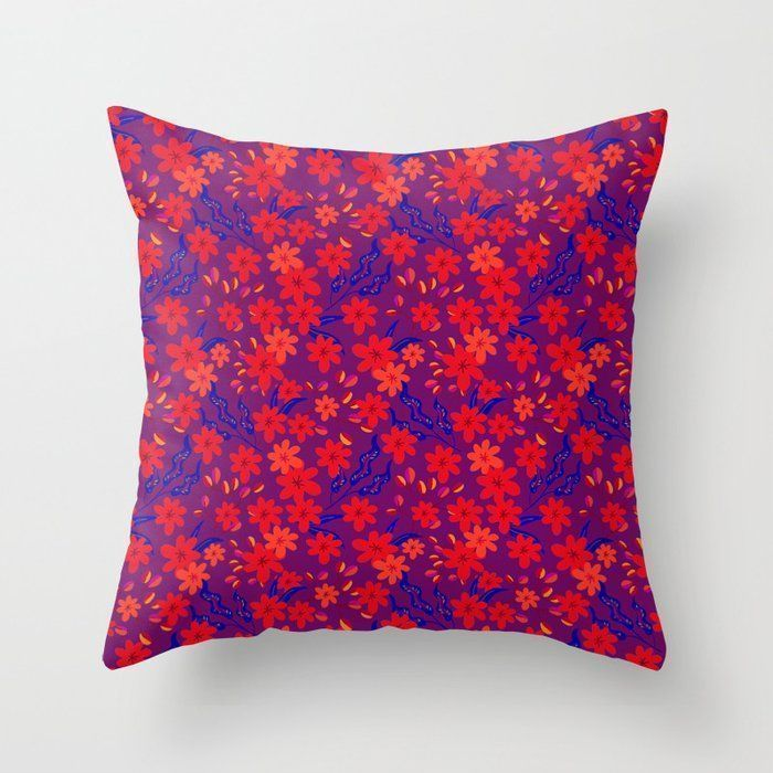 Beautiful girly summer red flowers, delicate blue leaves floral fabric burgundy Beautiful girly summer