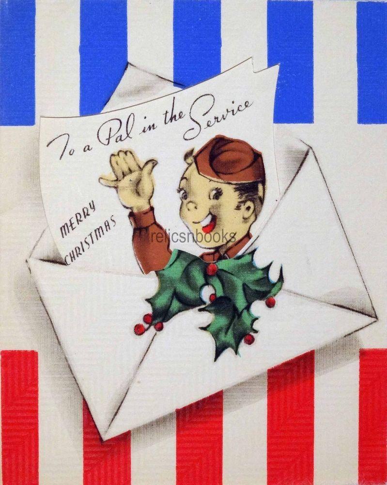 1273 40s Wwii Patriotic Us Army Soldier Vintage Christmas Card