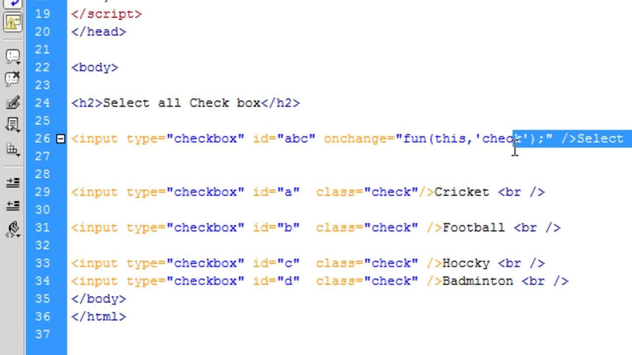 Javascript tutorial multiple checkbox selection by javascript javascript tutorial multiple checkbox selection by javascript function baditri Images