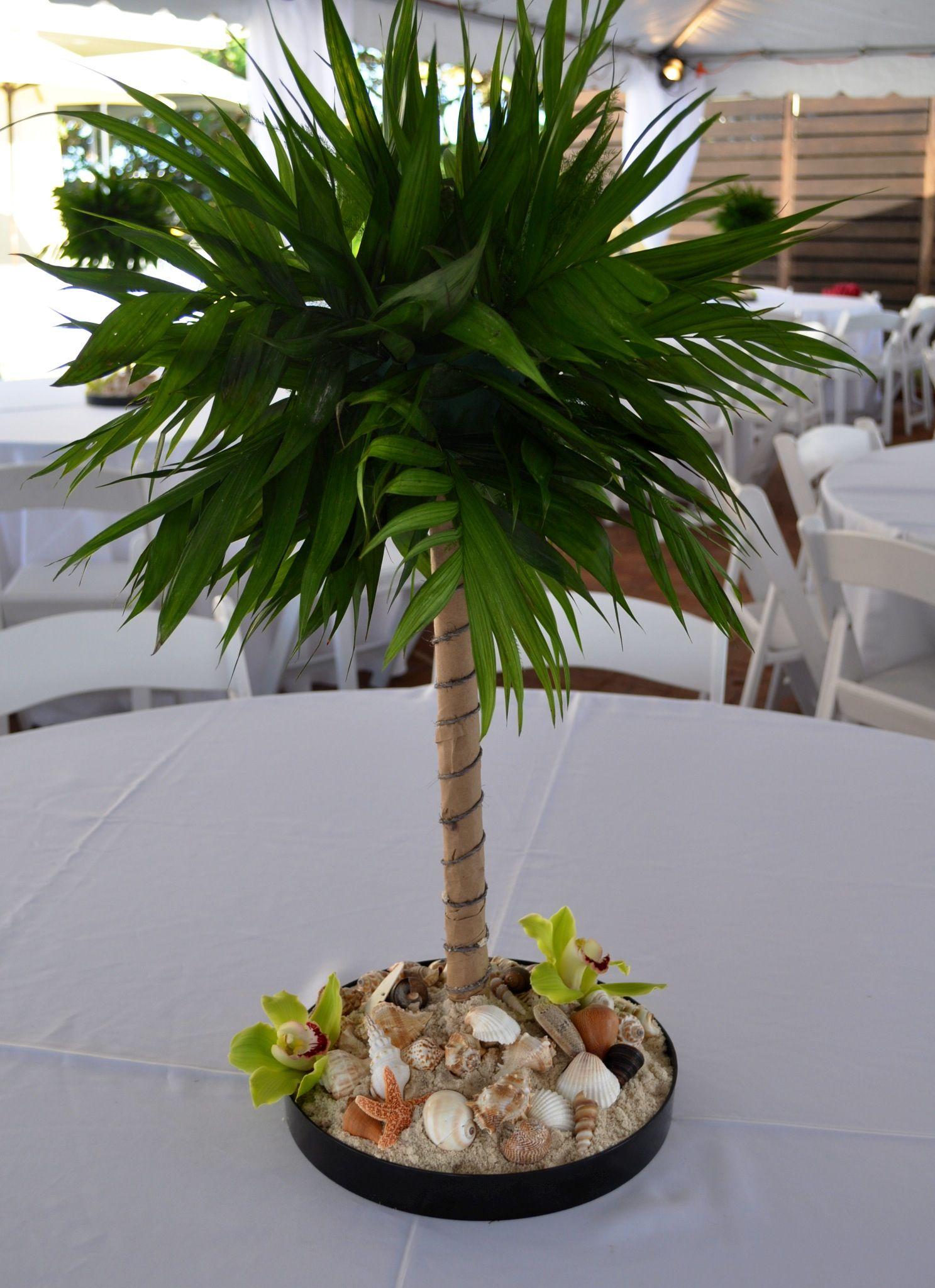 miniature palm tree centerpiece for beach theme party flowers rh pinterest com palm tree centerpieces weddings palm tree centerpieces for baby shower