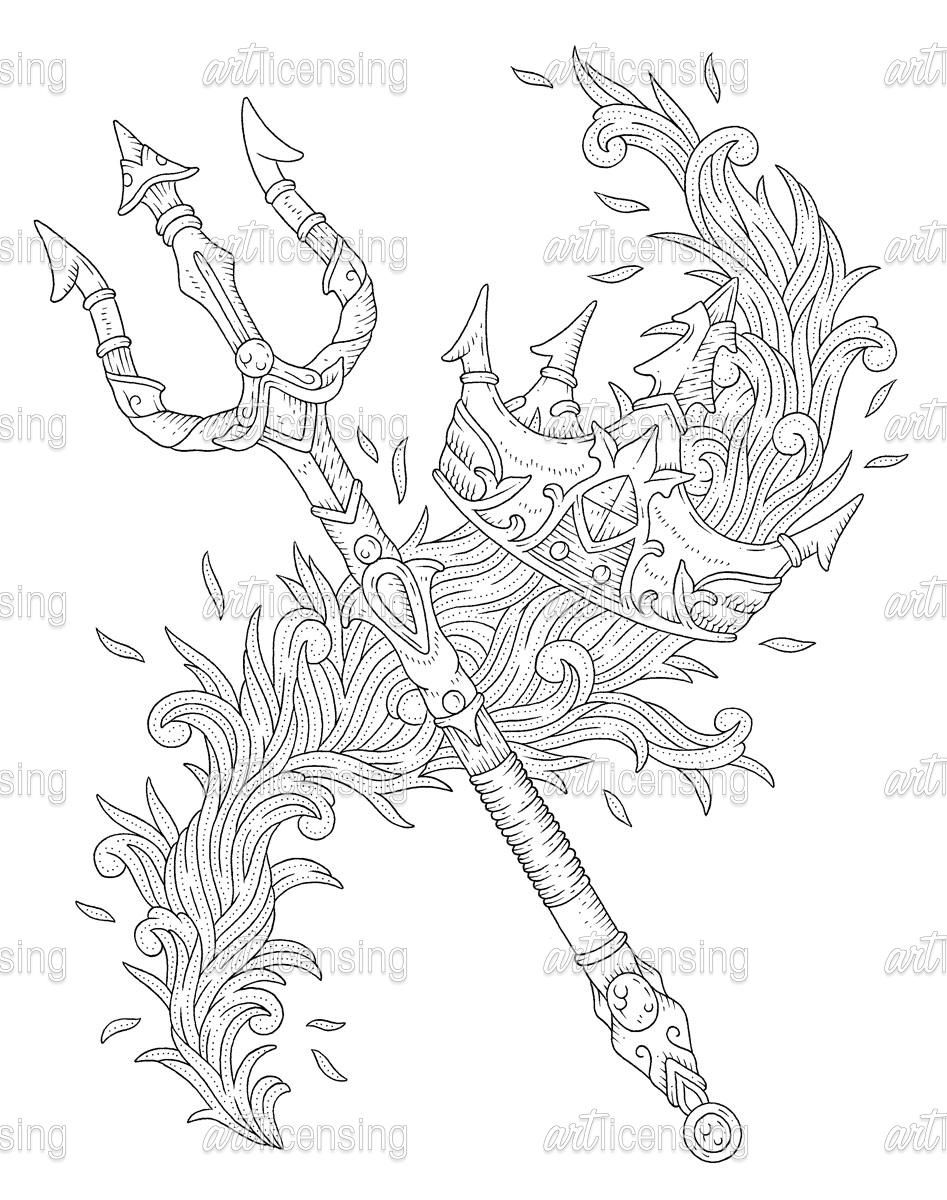 BC Poseidon Crown And Trident | Art Licensing | Tatuagens ...