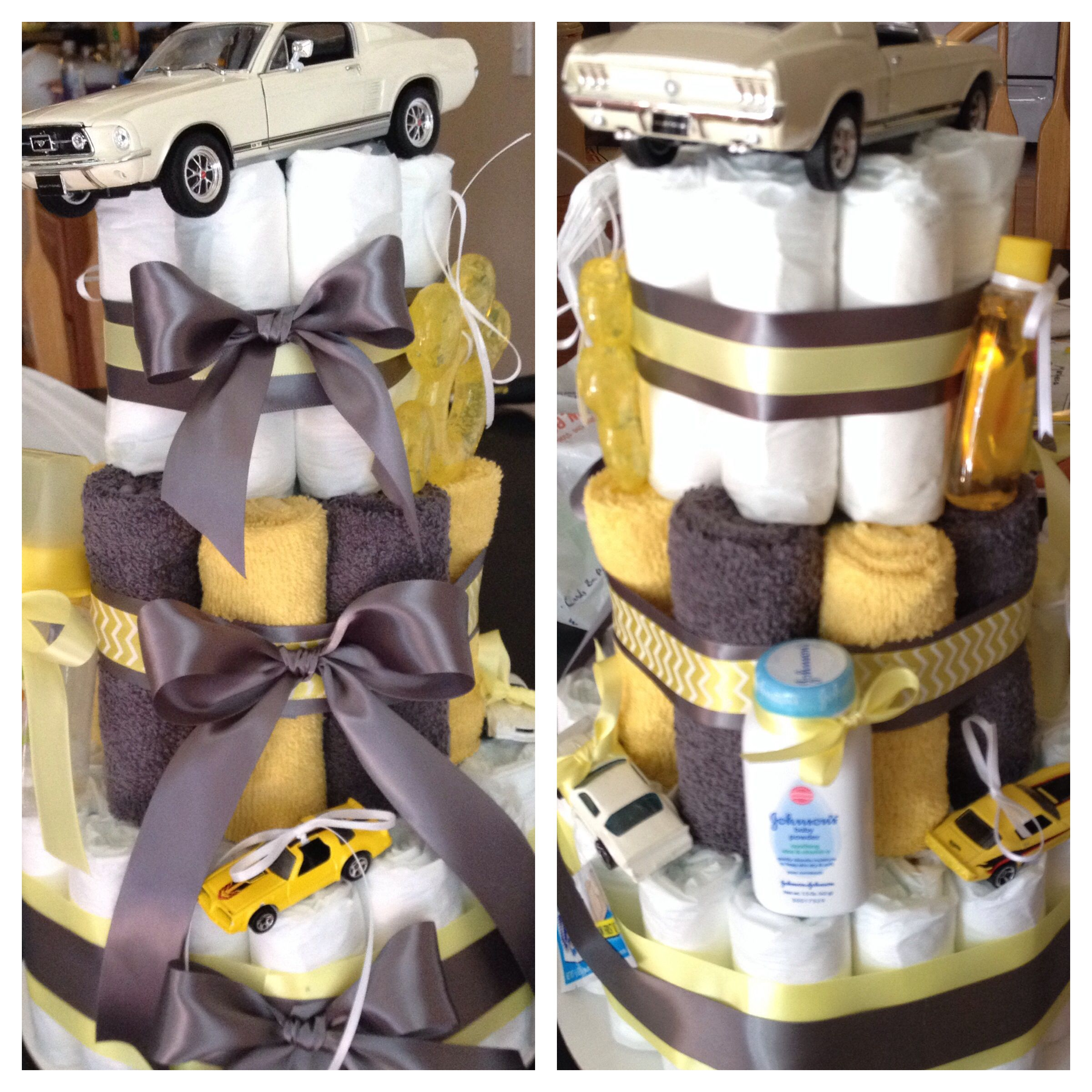 Gray And Yellow Classic Car Diaper Cake Diaper Cakes Pinterest