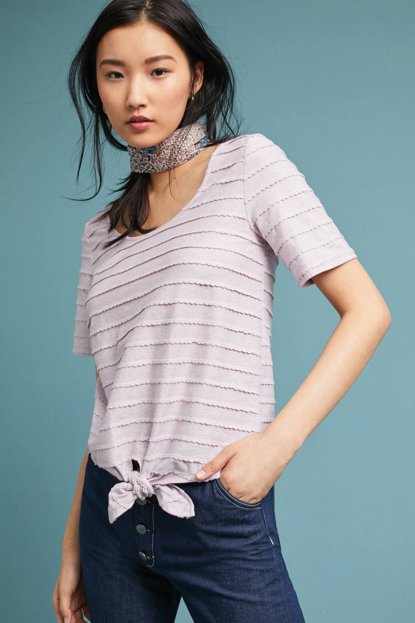 Tailleferre TieFront Tee Anthropologie Tees, Clothes