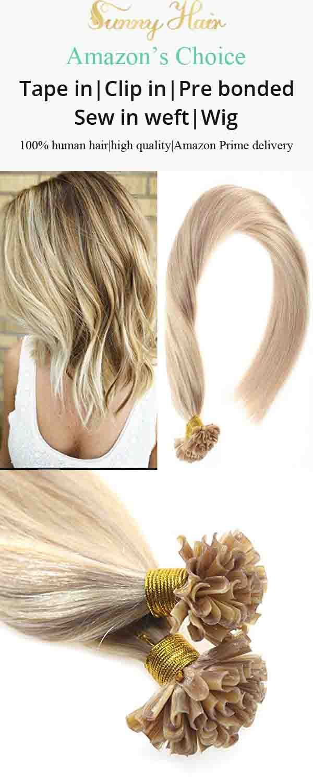 Sunny U Tip Hair Extensions Human Hair Dark Ash Blonde 18 With