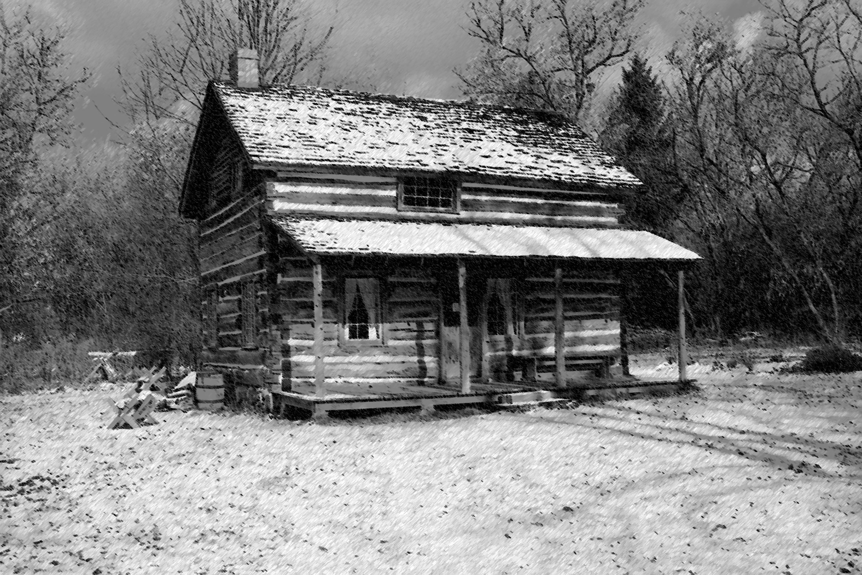 Snowy cabin growing up i would see these broken down Texas cabins in the woods