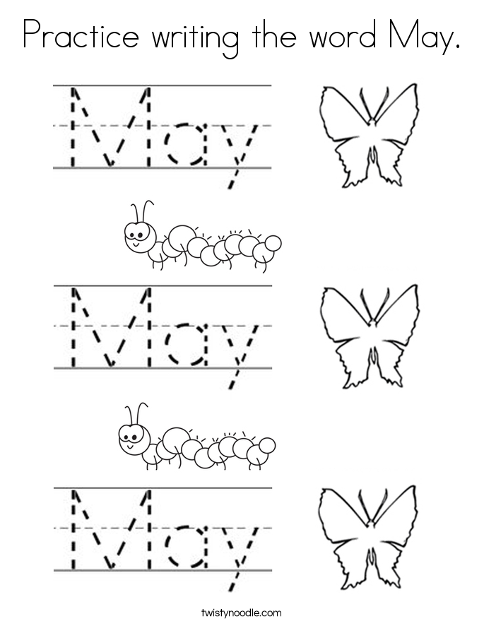Practice writing the word May Coloring Page Twisty
