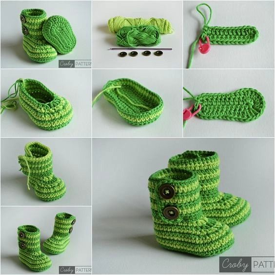 Botitas verde tejidas en #Crochet para nuestros #bebes. Más y ...