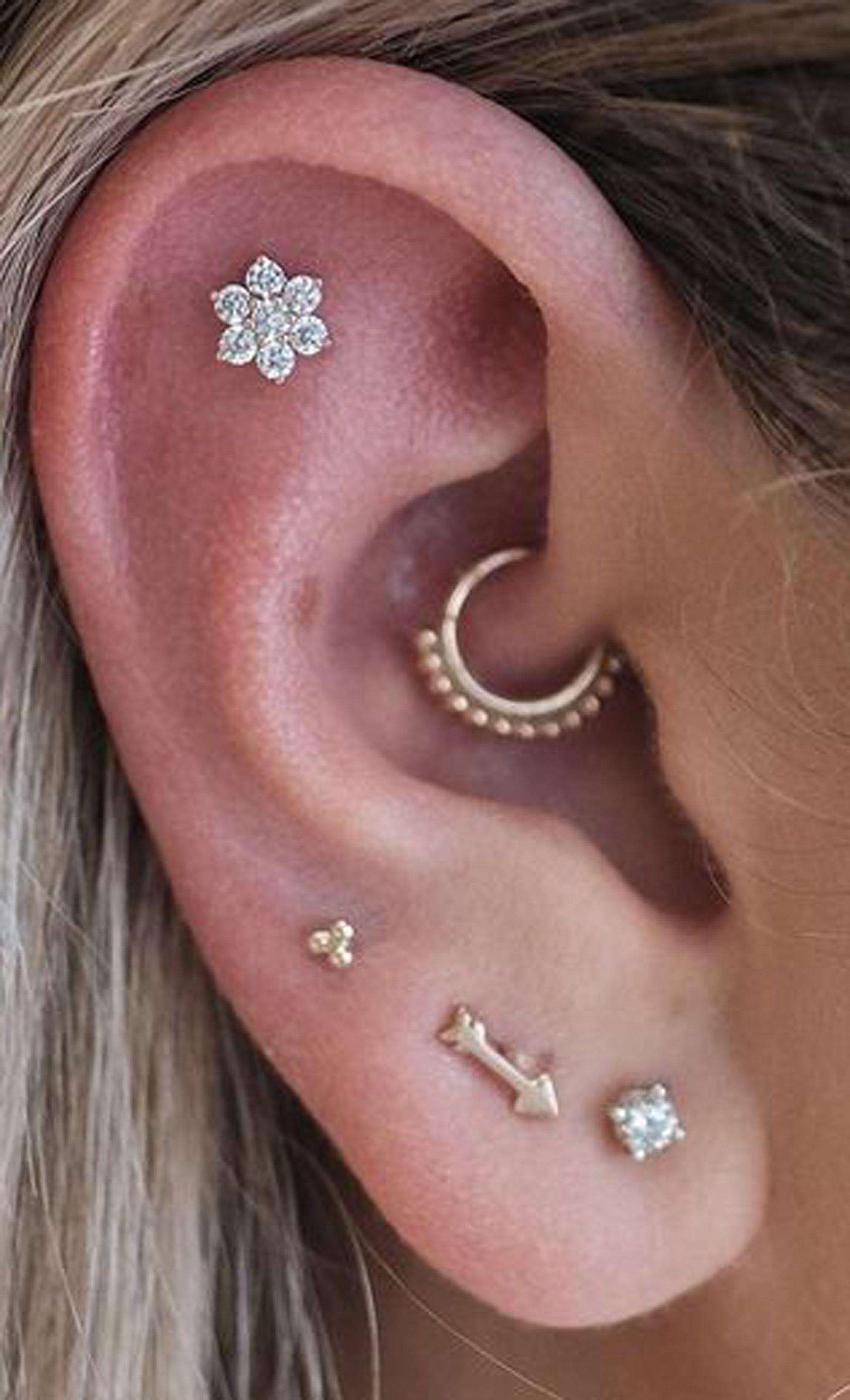 Piercing arten ohr  Felicity Crystal Flower G Ear Piercing Stud Earring  Piercing