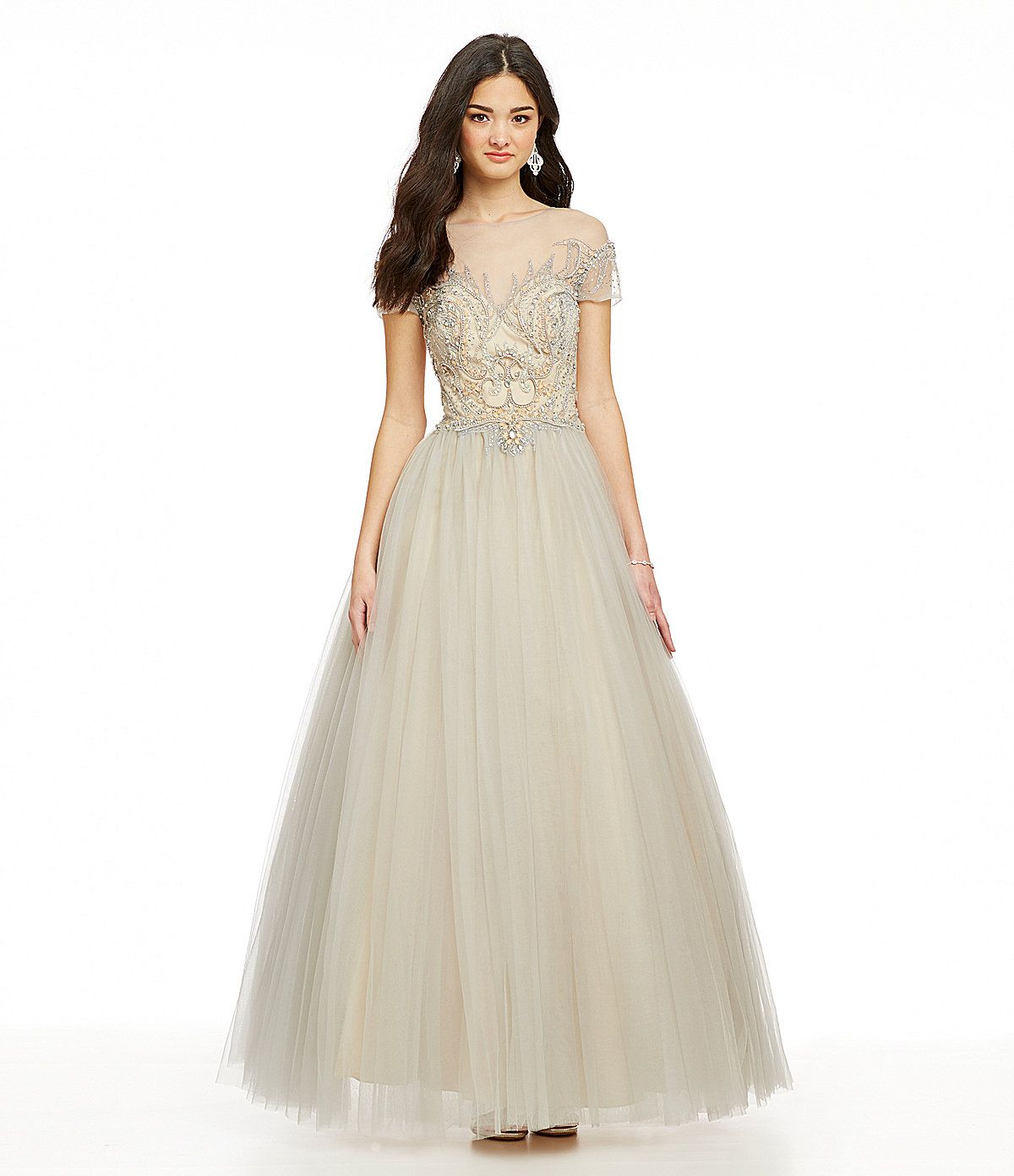 Glamour by Terani Couture Illusion T-Shirt Ball Gown | Dillards.com ...